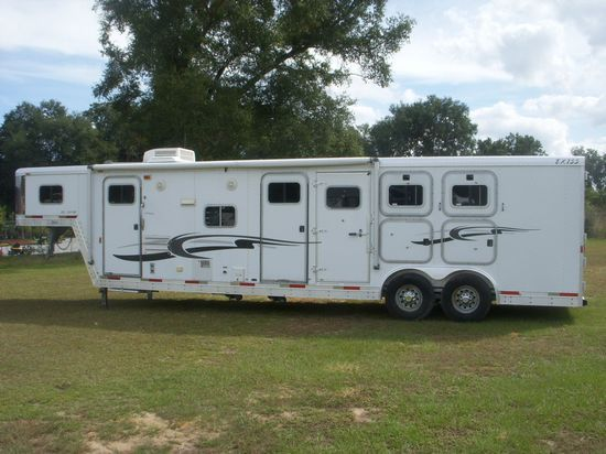 2002 Exiss with Mid Tack  3 Horse Slant Load Gooseneck Horse Trailer With Living Quarters SOLD!!!