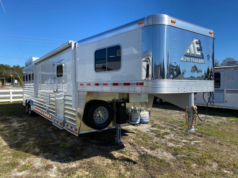 2021 Elite   4 Horse Slant Load Gooseneck Horse Trailer With Living Quarters